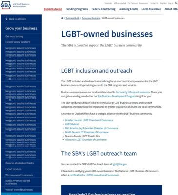 SBA - LGBT Business Onwer Page Added May 17 2018 - OutBuro - Employer Reviews Rating Gay Networking Professional Lesbian Entrepreneur Bisexual Transgender Queer Network Community