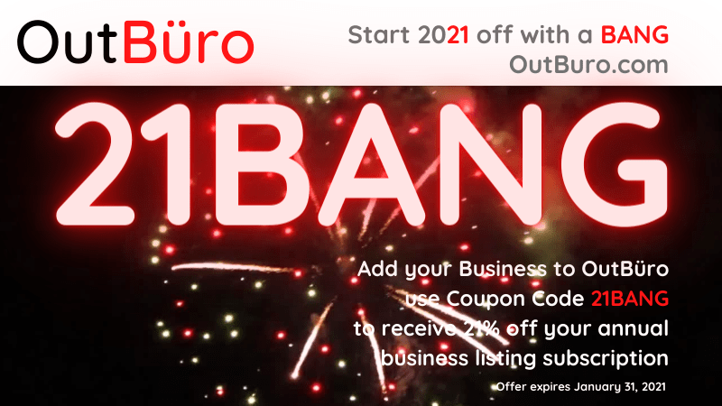 21BANG: Add Your Business to OutBüro by Jan 31, 2021