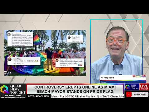 Miami Beach Mayor Stands on Rainbow Flag at Pride OutBuro LGBT professional entrepreneur online networking community gay lesbian bisexual transgender nonbinary